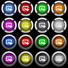 Export symbol with bottom right arrow white icons in round glossy buttons on black background