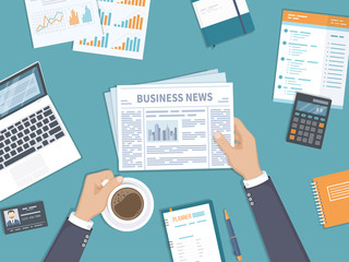 Business news. Businessman holding a newspaper and coffee cup on the desktop. Coffee break, breakfast, lunch, documents, laptop, calculator, notebook, planner. Top view. Vector.