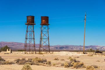 Rusty water tank in Death Valley Junction, Death Valley National Park, California