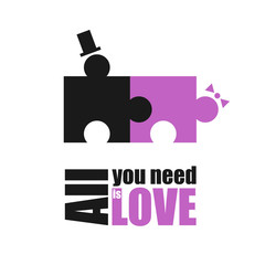 All You Need is Love inscription. Funny motivation poster with puzzle man and woman have sex. idea for banner happy valentine day. Phrase for photo frame