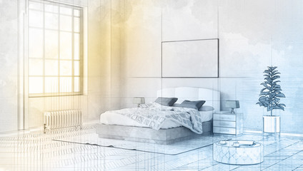 3d technical drawing style, beautiful bedroom interior with a large bed, horizontal poster hanging above it and a large window 3D illustration