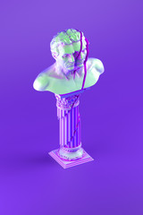 3d shattered bust statue placed on shattered column