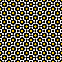 Seamless pattern in yellow, black and white