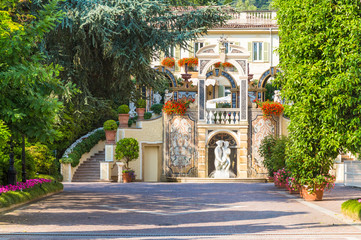 Stresa, Lake Maggiore, Italy, 05 July 2017. View of Grand Hotel Des Iles Borromees, located in Stresa, on Lake Maggiore, Italy