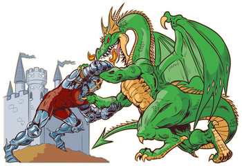 Knight Wrestling Dragon Vector Illustration