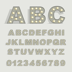 Font with lamps on gray background