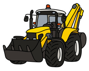 The hand drawing of a yellow cultivator