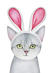 Easter Bunny Cat dressed up in Bunny Ears Headband. Silver gray tabby fluffy purebred, green round big eyes looking at camera, little one. Hand drawn watercolour drawing on white background, isolate.