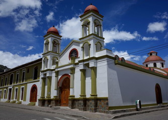 A church in the town of Sigchos which is passed through on the Quilotoa Loop in the Ecuadorian Andes