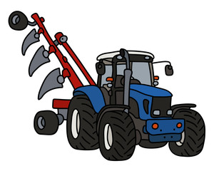 The blue tractor with the plow