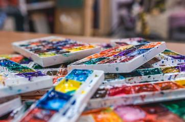 Set of watercolor palette