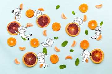 Healthy food fruits pattern with orange mandarin cloves, green mint leafs and orange slices isolated on azure blue background and fun kids children playing illustration