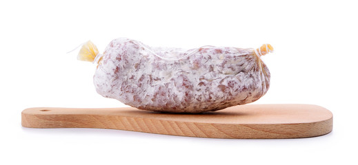 Small salami with cutting board on white background