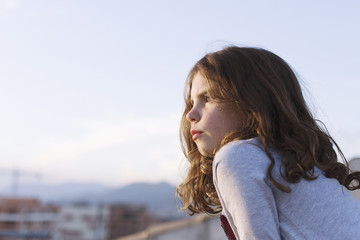 Portrait of a girl looking at view, Granada, Andalucia, Spain