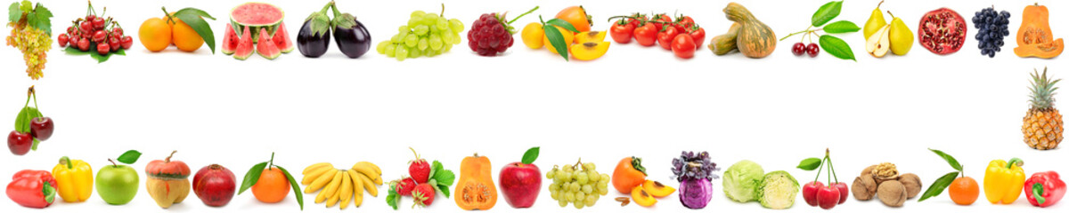 Wide frame ripe vegetables, fruits and berries isolated on white Wall mural
