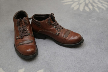 Classic leather shoes of the groom the morning preparation of wedding ceremony.