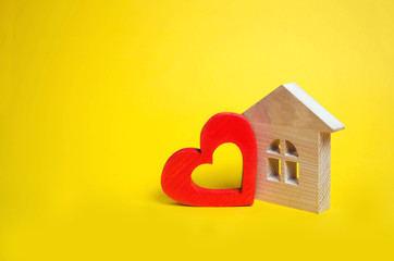House with a heart. House of lovers. Affordable housing for young families. Accommodation for lovers of couples. Valentine's day house. Young family love real estate.