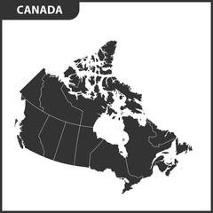 The detailed map of the Canada with regions or states