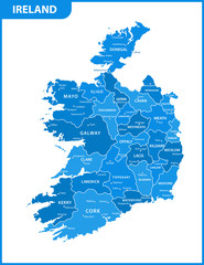 The detailed map of the Ireland with regions or states and cities, capitals