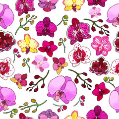 Seamless pattern with orchids and floral elements.