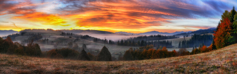 autumn morning. a picturesque dawn in the Carpathian Mountains