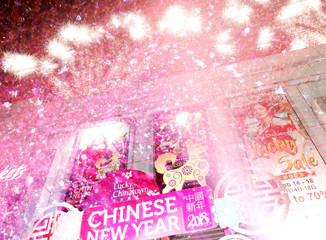 Fireworks light up the sky during a countdown welcoming the Chinese Lunar new year in Binondo district, metro Manila