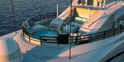 Extremely detailed and realistic high resolution 3D illustration of a luxury super yacht