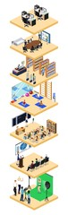 Isometric 3D vector illustration set of platforms with office, conference, school, studio, sports and shop