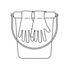 cleaning accessories bucket and gloves vector illustration