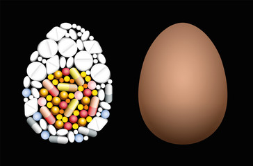 Pills that shape an egg. Symbol for medicine, pharmacy, antibiotics and veterinary healthcare issues - isolated vector illustration on black background.