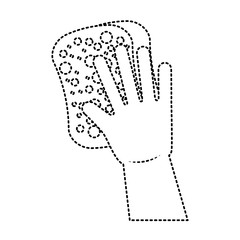 cleaning glove and sponge equipment work vector illustration