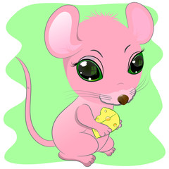 little cute mouse with cheese