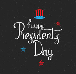 Presidents Day hand lettering on black background with hat and stars. Vector illustration.