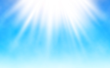 Shining sun on blue sky. White clouds and bright sun rays. Warm summer day. Realistic vector illustration