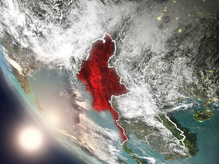 Sunset above Myanmar from space