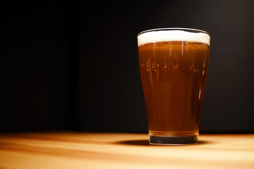 Glasses of dark beer. selective focus