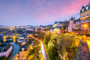 Fotomurales - Skyline of old town Luxembourg City from top view