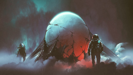 sci-fi horror scene of two astronauts found the mysterious alien egg, digital art style, illustration painting Wall mural