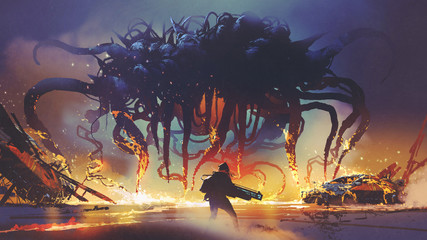 fight scene between the human and giant monster, the man battling alien at night, digital art style, illustration painting