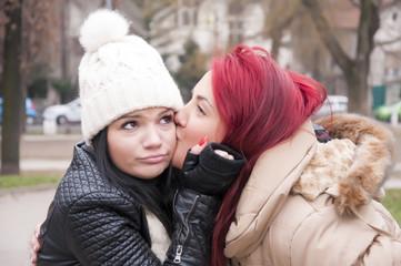 beautiful young girl couple hug smile