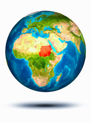 Sudan on Earth with white background