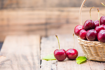 Fresh Cherry from farm, sweet and sour fruit, wooden table background