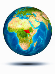 South Sudan on Earth with white background