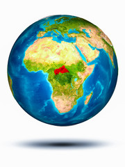 Central Africa on Earth with white background