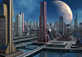 Futuristic City Skyline by Day - 3d illustration