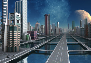 Futuristic City Skyline by Day - 3d illustration