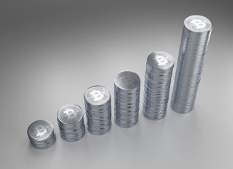 3d rendering of stacks of Bitcoins with clipping path.