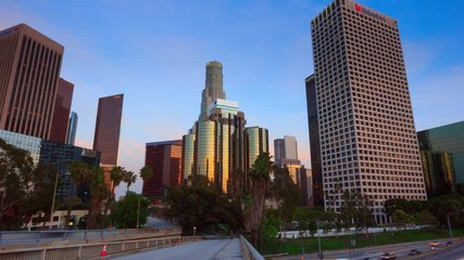 Fototapete - Walk towards downtown city Los Angeles. 4K UHD Timelapse in motion (hyperlapse).