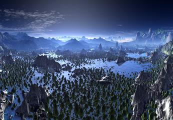 3D Rendered Fantasy Landscape - 3D Illustration