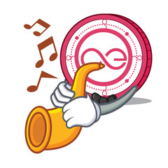 With trumpet Aeternity coin mascot cartoon